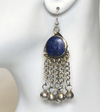 Afghani Kuchi Tribal Earrings with Round Lapis & Bells