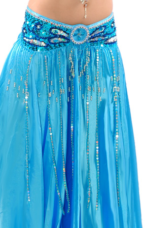 Beaded Satin Belly Dance Belt with Sequin Butterfly Design & Fringe - BLUE TURQUOISE