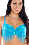 Sequin Belly Dance / Samba Bra with Beaded Fringe - TURQUOISE