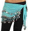 Chiffon Belly Dance Hip Scarf with Beads & Coins - MINT GREEN / SILVER