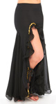 Egyptian Style Belly Dance Skirt with Ruffle Side Slit - BLACK