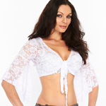 Lace Bell Sleeve Choli Belly Dance Top - EGGSHELL WHITE