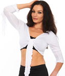 Criss-Cross Choli Top with Handkerchief Sleeves - WHITE