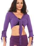 Criss-Cross Choli Top with Handkerchief Sleeves - DARK PURPLE