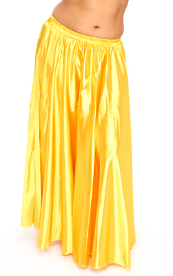 Satin Belly Dance Costume Skirt - GOLDEN YELLOW