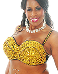 Plus Size Sequin Beaded Cabaret Bra - GOLD 36J / 38F