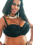 Plus Size Sequin Beaded Cabaret Bra - BLACK