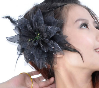 Hair Flower with Feather Accents - BLACK