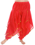 Endless Wave Bollywood Ruffle Belly Dance Harem Pants - RED / GOLD