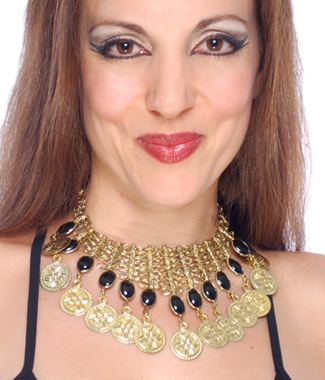 Belly Dance Coin Necklace with Glass Charms - GOLD / BLACK