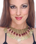Belly Dance Coin Necklace with Glass Charms - GOLD / BURGUNDY
