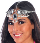 Belly Dance Metal Headpiece with Bells & Mirrors - SILVER