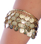 Metal Belly Dance Costume Armband Bracelet with Coins - GOLD