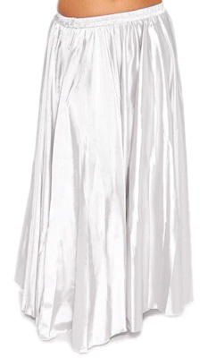 Satin Belly Dance Costume Skirt - WHITE