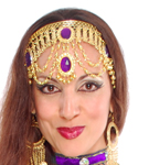 Arabian Nights Belly Dance Costume Headband with Faux Jewels - PURPLE