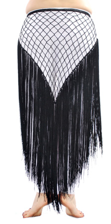 Triangle Crochet Belt with Long Fringe - BLACK