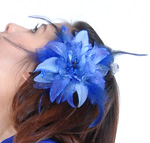 Hair Flower with Feather Accents - ROYAL BLUE