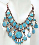 Deluxe Afghani Tribal Teardrop Necklace - TURQUOISE BLUE