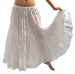 7 Yard Cotton Tribal Gypsy Belly Dance Skirt - EGGSHELL WHITE