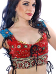 Embroidered Tribal Lace-Up Choli Top - RED