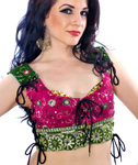 Embroidered Tribal Lace-Up Choli Top - FUCHSIA