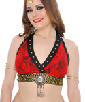 Tribal Fusion Studded Lace Halter Bra - RED