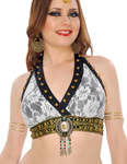 Tribal Fusion Studded Lace Halter Bra - WHITE