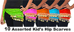 10 Lot Wholesale CHILD SIZE Belly Dance Chiffon & Coin Hip Scarves - ASSORTED