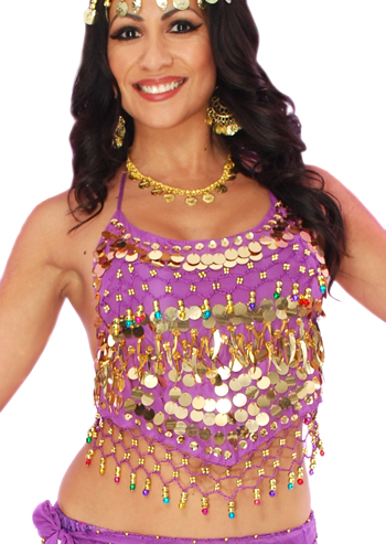 Chiffon Belly Dance Bollywood Costume Halter Top with Paillettes & Bells - PURPLE