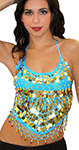 Chiffon Belly Dance Bollywood Costume Halter Top with Paillettes & Bells - BLUE TURQUOISE