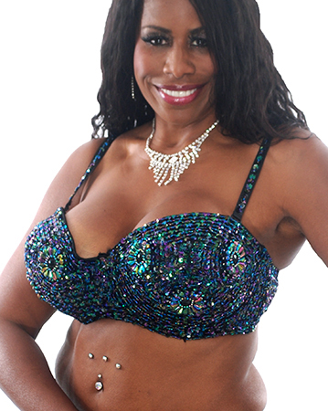 Plus Size Sequin Bra with Beaded Floral Design - BLACK OPAL 36J / 38F