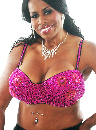 Plus Size Sequin Bra with Beaded Floral Design - FUCHSIA 38J