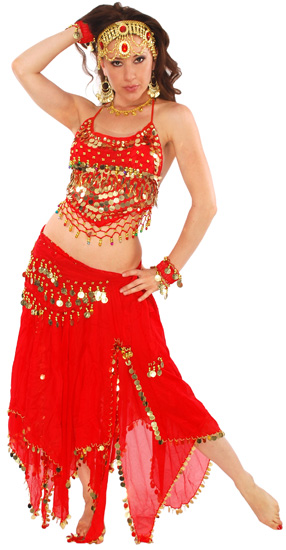 Arabian Belly Dancer Costume with Coins & Paillettes - RED