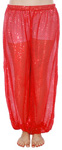 Shiny Sequin Dot Belly Dancer Genie Harem Pants - RED