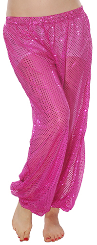 Shiny Sequin Dot Belly Dancer Genie Harem Pants - FUCHSIA