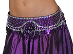 Sequin Beaded Belly Dance Belt with Teardrop Paillettes - PURPLE / SILVER