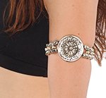 PLUS SIZE Tribal Armband with Large Medallion - SILVER
