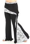 Tribal Fusion Belly Dance Pants with Lace Accents - BLACK / IVORY