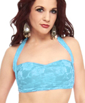 Lace Tribal Fusion Belly Dance Costume Halter Top - LIGHT BLUE