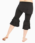 Comfy Tribal Fusion Capri Pants with Removable Hip Wrap - BLACK