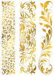 Custom Wide Metallic Temporary Flash Tattoo Bands - GOLD FLORA