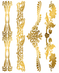 Custom Metallic Temporary Flash Tattoo Bands - GOLD FLORA