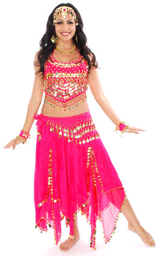 Belly Dancer Costume with Coins & Paillettes - DARK PINK