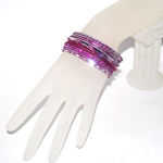 Small Size Diamond Cut Glitter Bangle Set - FUCHSIA