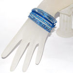 Small Size Diamond Cut Glitter Bangle Set - BLUE