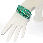 Small Size Diamond Cut Glitter Bangle Set - GREEN