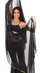 3 Yard Chiffon Belly Dance Veil with Sequin Trim - BLACK / GOLD
