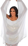 3 Yard Chiffon Belly Dance Veil with Sequin Trim - WHITE / SILVER