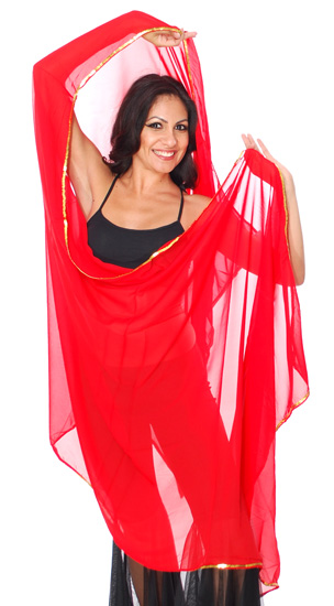 3 Yard Chiffon Belly Dance Veil with Sequin Trim - RED / GOLD
