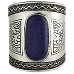 Large Silver Tribal Belly Dance Cuff Bracelet With Lapis Inlays - SILVER